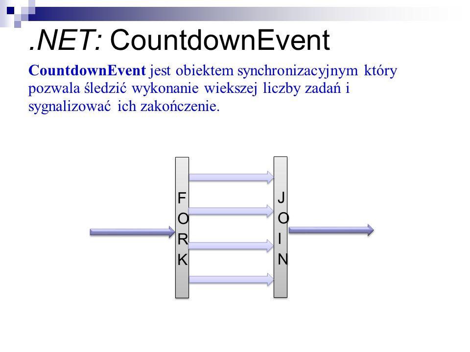 .NET: CountdownEvent Master Thread Parallel Region Master Thread CountdownEvent jest obiektem synchronizacyjnym który pozwala śledzić wykonanie wieksz