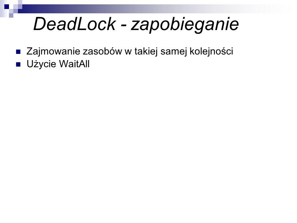 DeadLock - zapobieganie Zajmowanie zasobów w takiej samej kolejności Użycie WaitAll