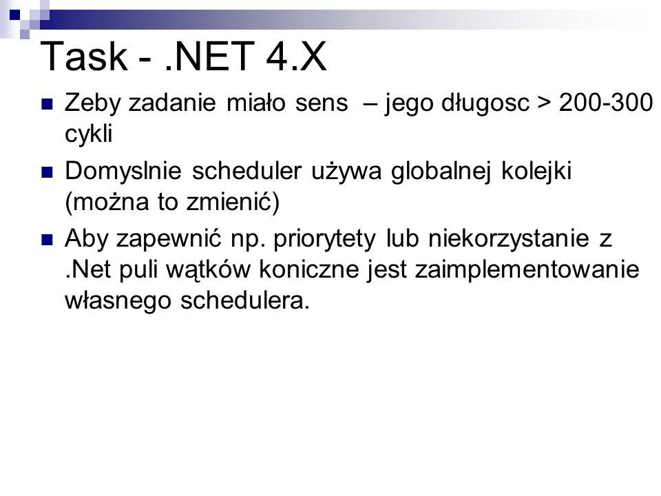 Task -.NET 4.X Zeby zadanie miało sens – jego długosc > 200-300 cykli Domyslnie scheduler używa globalnej kolejki (można to zmienić) Aby zapewnić np.