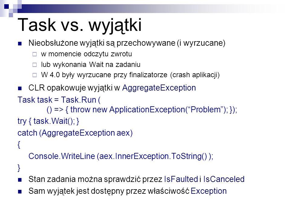 Task vs. wyjątki Nieobsłużone wyjątki są przechowywane (i wyrzucane) w momencie odczytu zwrotu lub wykonania Wait na zadaniu W 4.0 były wyrzucane przy
