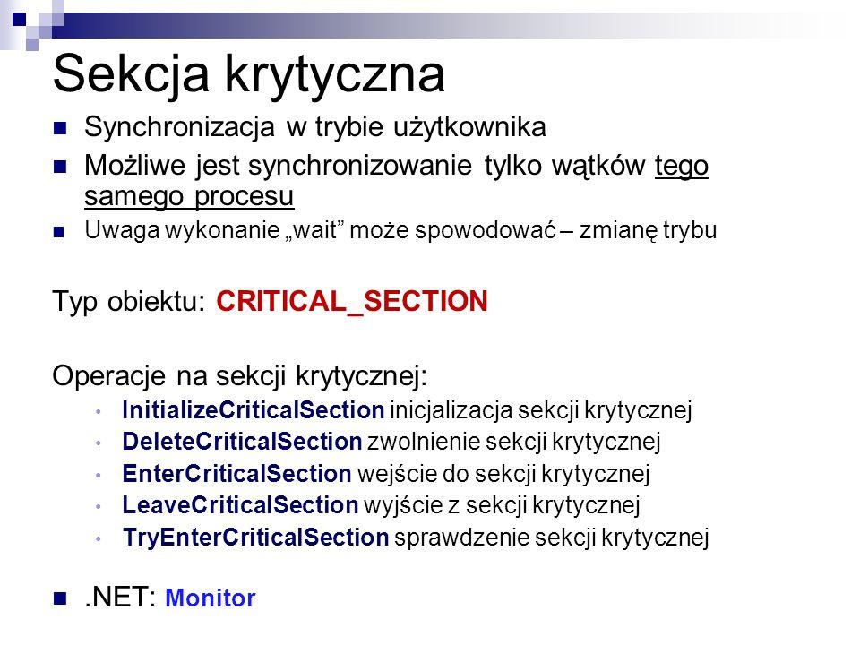 Sekcja krytyczna Synchronizacja w trybie użytkownika Możliwe jest synchronizowanie tylko wątków tego samego procesu Uwaga wykonanie wait może spowodow