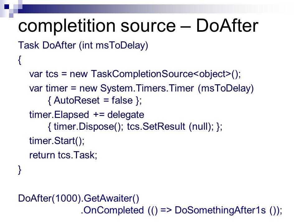 completition source – DoAfter Task DoAfter (int msToDelay) { var tcs = new TaskCompletionSource (); var timer = new System.Timers.Timer (msToDelay) {