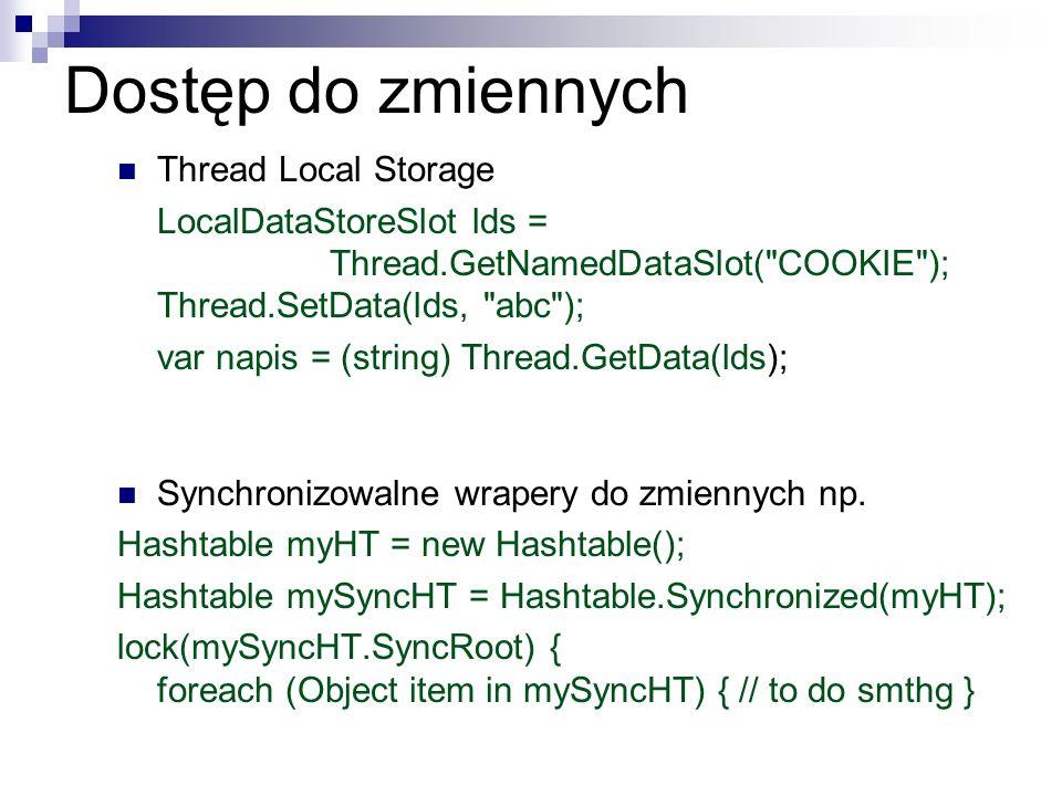 Dostęp do zmiennych Thread Local Storage LocalDataStoreSlot lds = Thread.GetNamedDataSlot(