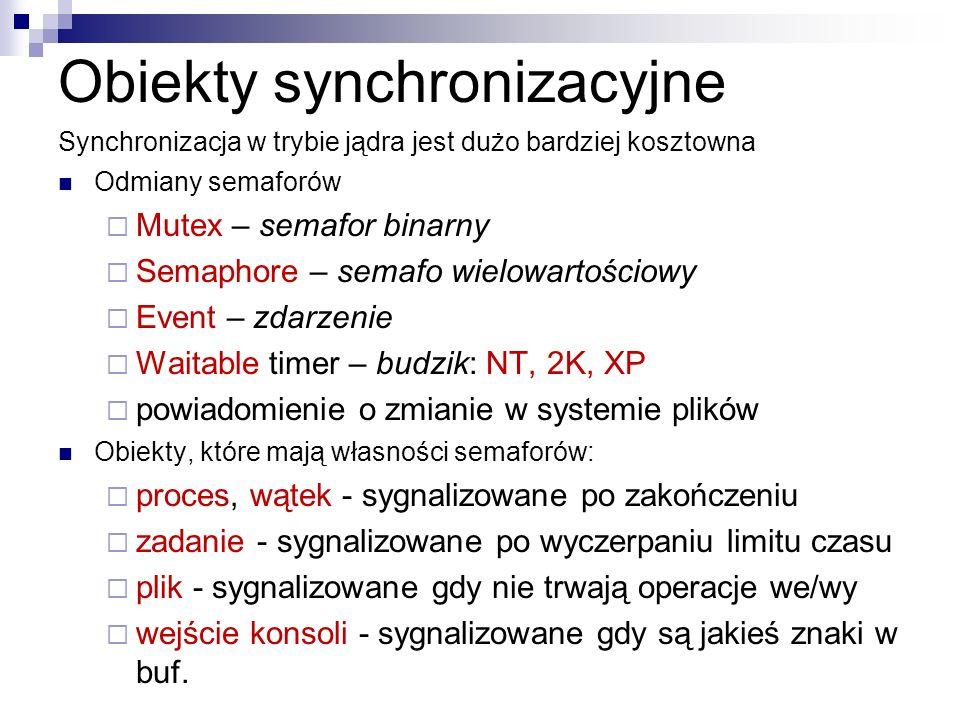 Obiekty synchronizacyjne Synchronizacja w trybie jądra jest dużo bardziej kosztowna Odmiany semaforów Mutex – semafor binarny Semaphore – semafo wielo