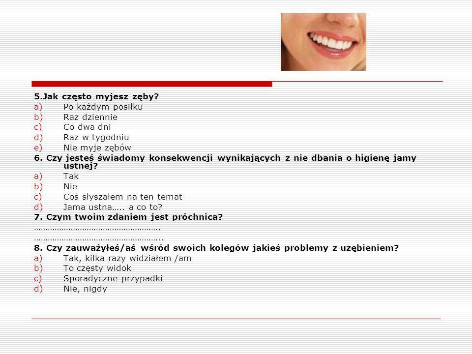 Ankieta: 1.Czy masz zęby zaatakowane próchnicą? a)tak, lecz ich nie leczę b)Tak, ale jestem w trakcie ich leczenia c)Nie wiem, nie chodzę do dentysty