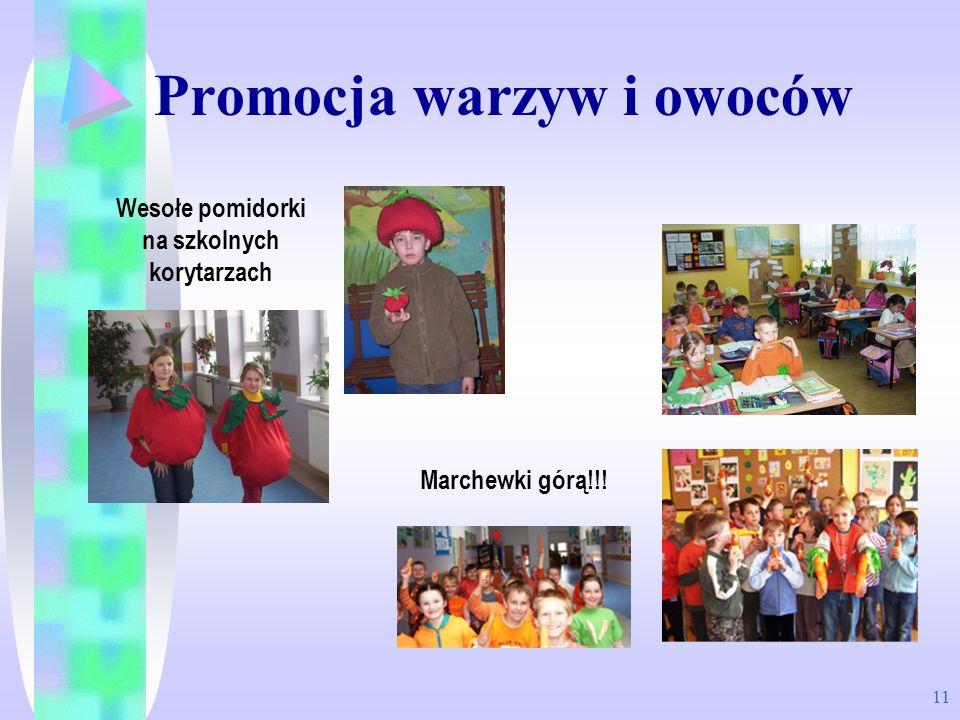 11 Promocja warzyw i owoców Wesołe pomidorki na szkolnych korytarzach Marchewki górą!!!