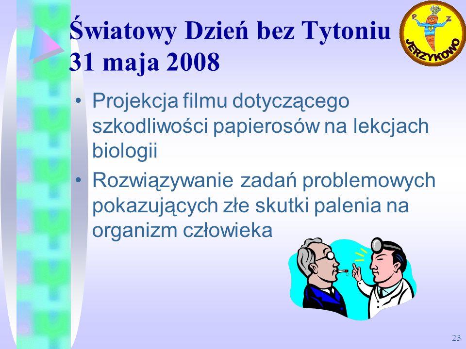 23 Światowy Dzień bez Tytoniu 31 maja 2008 Projekcja filmu dotyczącego szkodliwości papierosów na lekcjach biologii Rozwiązywanie zadań problemowych p