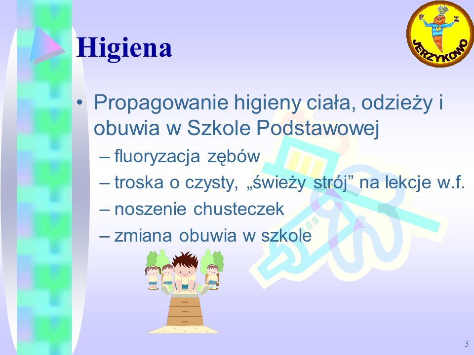 3 Higiena Propagowanie higieny ciała, odzieży i obuwia w Szkole Podstawowej –fluoryzacja zębów –troska o czysty, świeży strój na lekcje w.f. –noszenie
