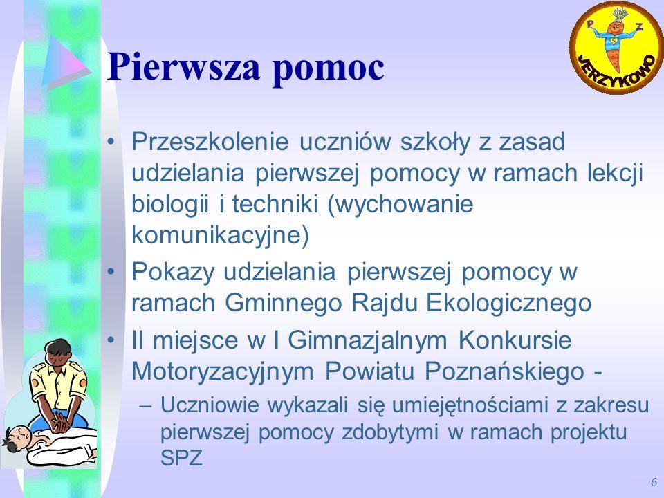 6 Pierwsza pomoc Przeszkolenie uczniów szkoły z zasad udzielania pierwszej pomocy w ramach lekcji biologii i techniki (wychowanie komunikacyjne) Pokaz