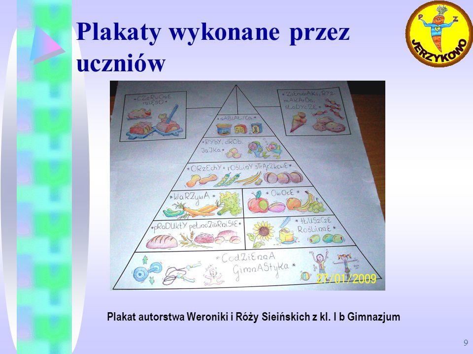 9 Plakaty wykonane przez uczniów Plakat autorstwa Weroniki i Róży Sieińskich z kl. I b Gimnazjum