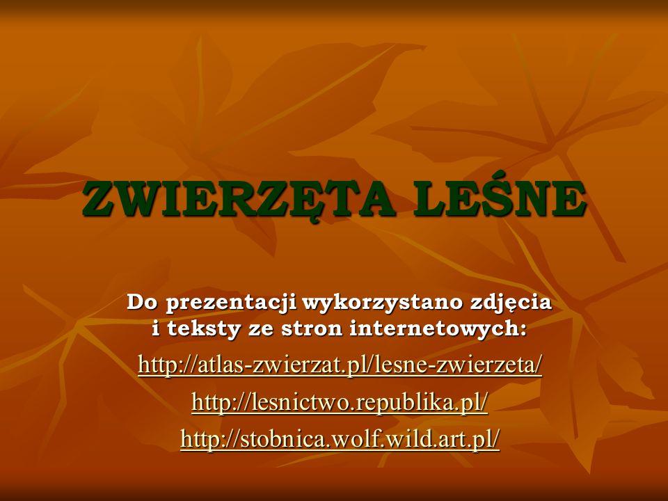 ZWIERZĘTA LEŚNE Do prezentacji wykorzystano zdjęcia i teksty ze stron internetowych: http://atlas-zwierzat.pl/lesne-zwierzeta/ http://lesnictwo.republ