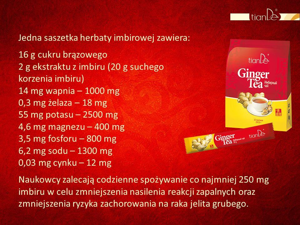 Jedna saszetka herbaty imbirowej zawiera: 16 g cukru brązowego 2 g ekstraktu z imbiru (20 g suchego korzenia imbiru) 14 mg wapnia – 1000 mg 0,3 mg żel