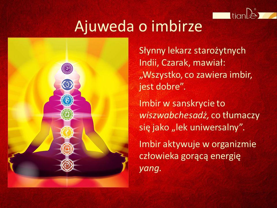 Ajuweda o imbirze Słynny lekarz starożytnych Indii, Czarak, mawiał: Wszystko, co zawiera imbir, jest dobre. Imbir w sanskrycie to wiszwabchesadż, co t