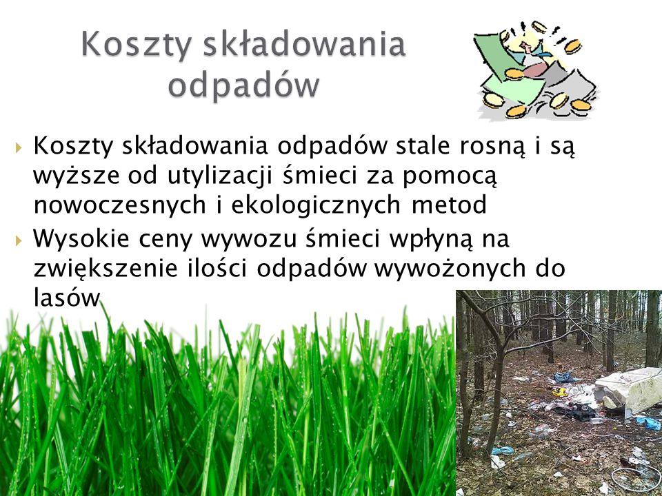 Koszty składowania odpadów stale rosną i są wyższe od utylizacji śmieci za pomocą nowoczesnych i ekologicznych metod Wysokie ceny wywozu śmieci wpłyną na zwiększenie ilości odpadów wywożonych do lasów