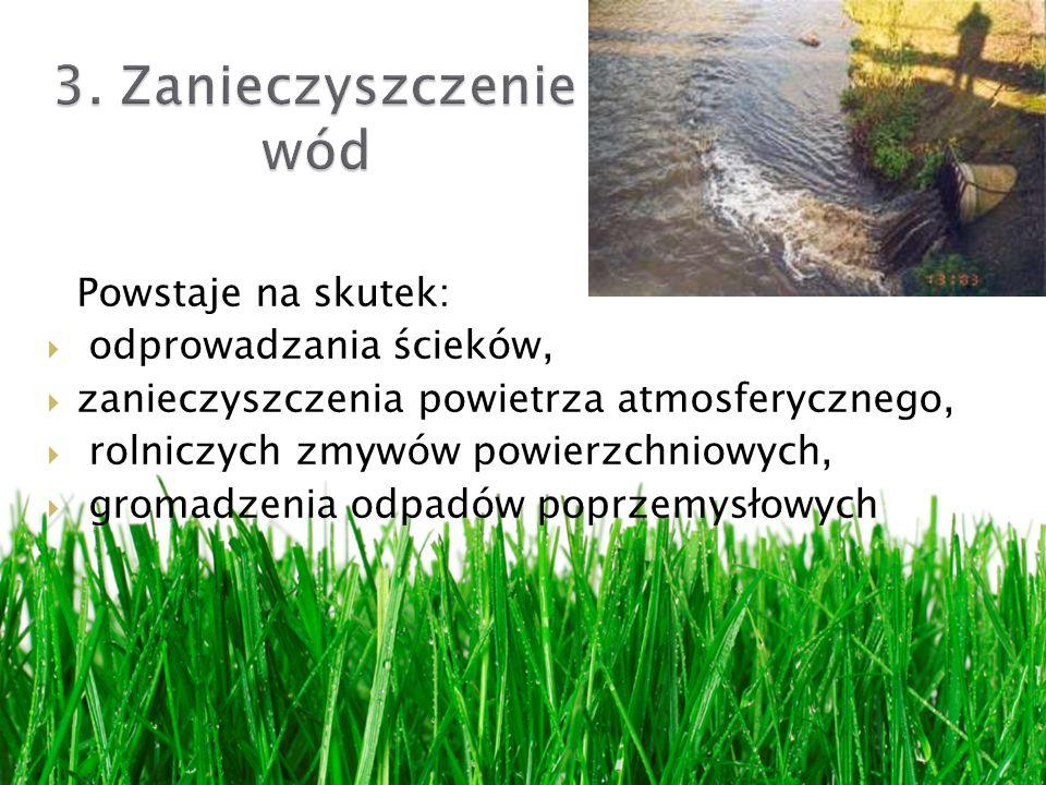 Powstaje na skutek: odprowadzania ścieków, zanieczyszczenia powietrza atmosferycznego, rolniczych zmywów powierzchniowych, gromadzenia odpadów poprzemysłowych
