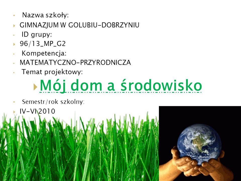 Nazwa szkoły: GIMNAZJUM W GOLUBIU-DOBRZYNIU ID grupy: 96/13_MP_G2 Kompetencja: MATEMATYCZNO-PRZYRODNICZA Temat projektowy: Mój dom a środowisko Semestr/rok szkolny: IV-VI 2010