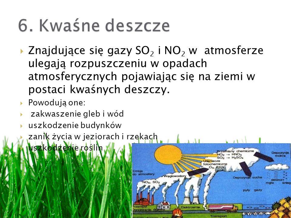 Znajdujące się gazy SO 2 i NO 2 w atmosferze ulegają rozpuszczeniu w opadach atmosferycznych pojawiając się na ziemi w postaci kwaśnych deszczy.