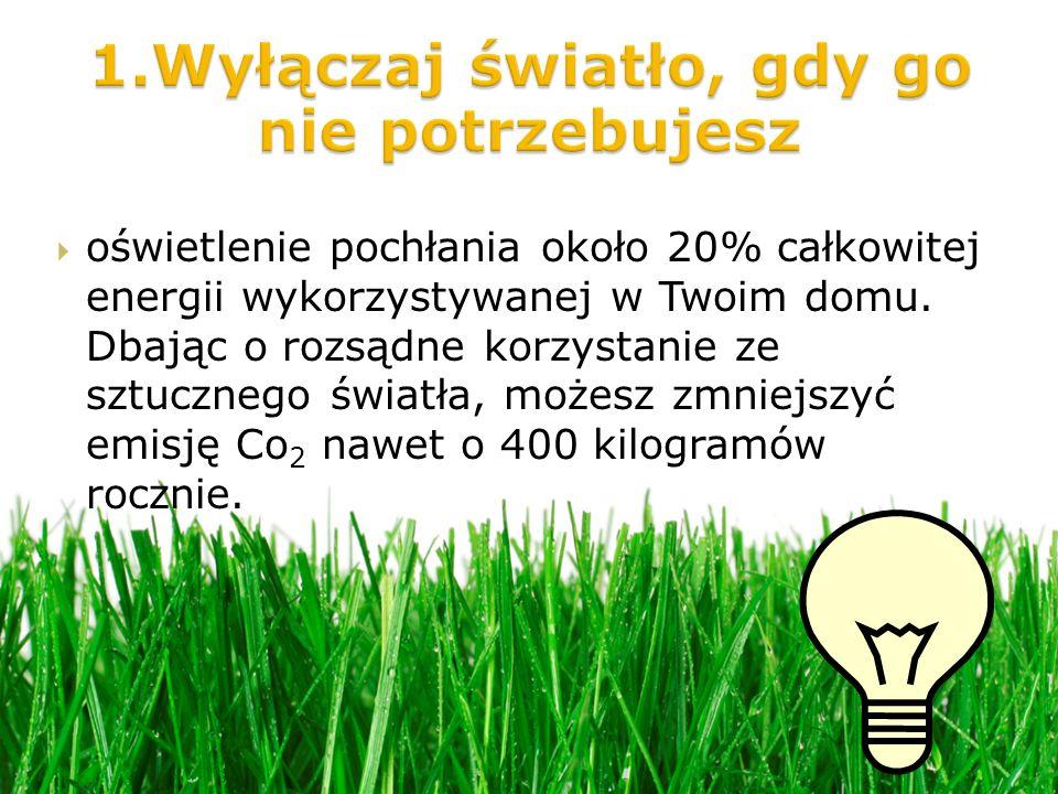 oświetlenie pochłania około 20% całkowitej energii wykorzystywanej w Twoim domu.