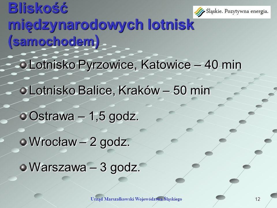 12 Bliskość międzynarodowych lotnisk ( samochodem ) Lotnisko Pyrzowice, Katowice – 40 min Lotnisko Balice, Kraków – 50 min Ostrawa – 1,5 godz. Wrocław