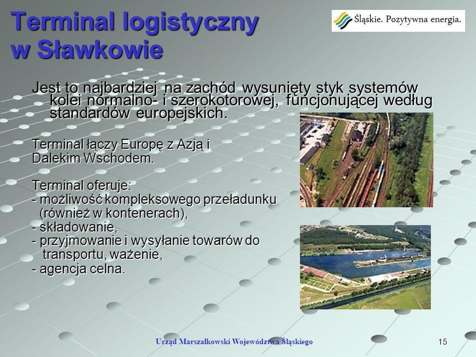 15 Terminal logistyczny w Sławkowie Jest to najbardziej na zachód wysunięty styk systemów kolei normalno- i szerokotorowej, funcjonującej według stand