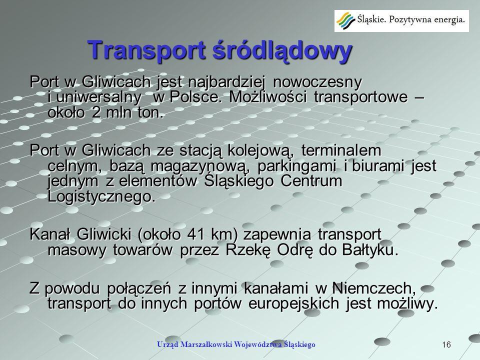 16 Transport śródlądowy Port w Gliwicach jest najbardziej nowoczesny i uniwersalny w Polsce. Możliwości transportowe – około 2 mln ton. Port w Gliwica