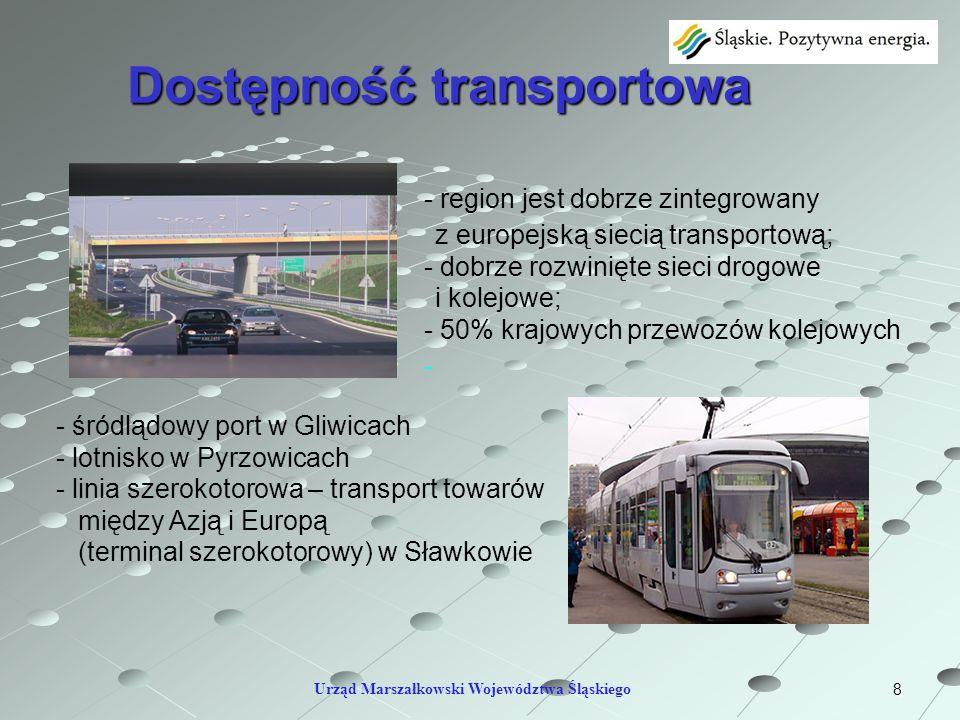 8 Dostępność transportowa Urząd Marszałkowski Województwa Śląskiego - region jest dobrze zintegrowany z europejską siecią transportową; - dobrze rozwi