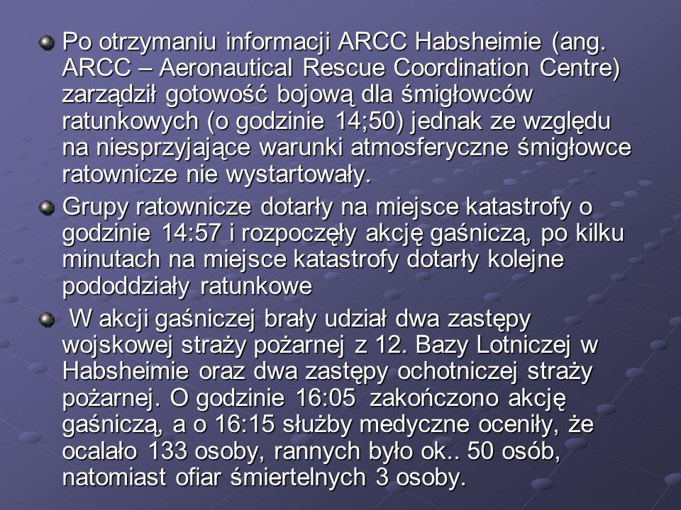 Po otrzymaniu informacji ARCC Habsheimie (ang. ARCC – Aeronautical Rescue Coordination Centre) zarządził gotowość bojową dla śmigłowców ratunkowych (o