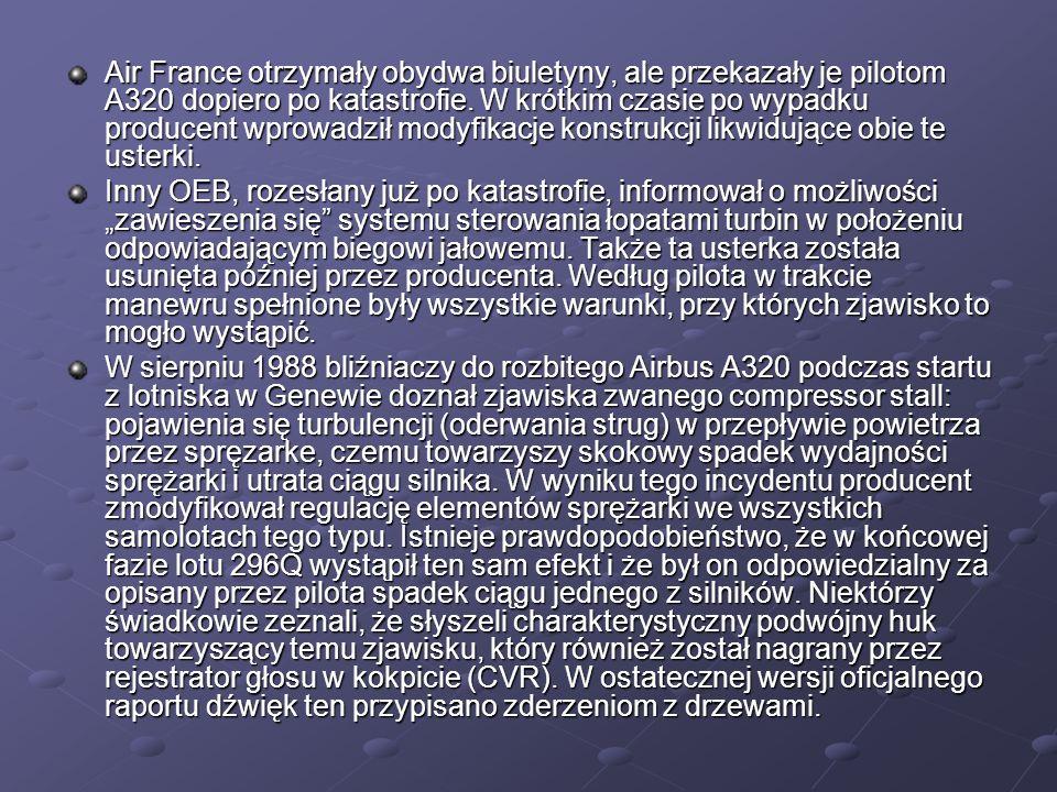Air France otrzymały obydwa biuletyny, ale przekazały je pilotom A320 dopiero po katastrofie. W krótkim czasie po wypadku producent wprowadził modyfik