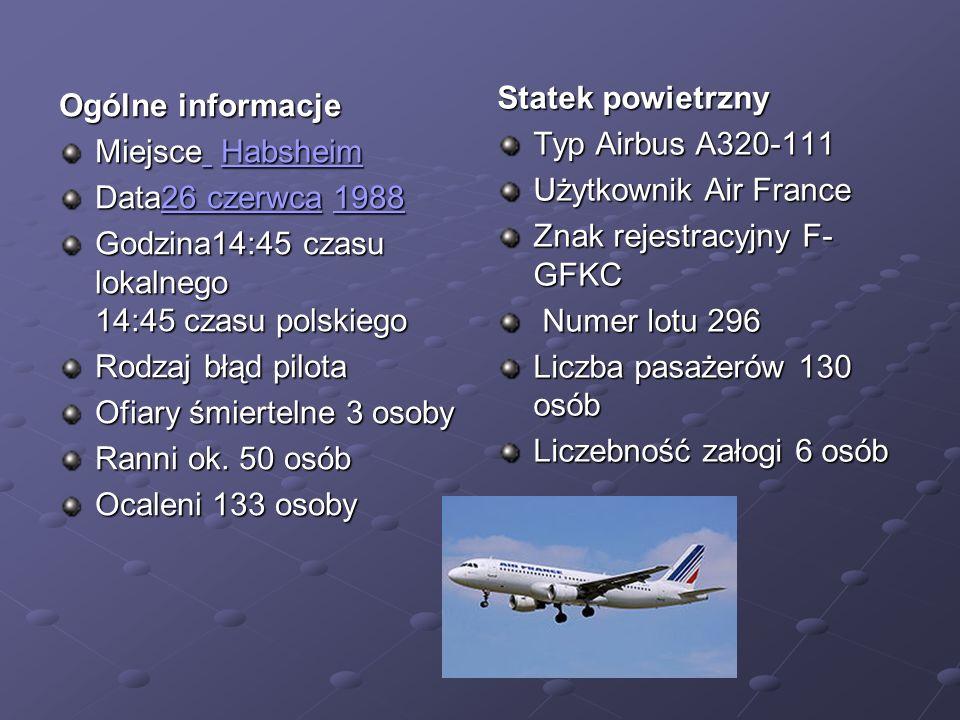 Ogólne informacje Miejsce Habsheim Habsheim Habsheim Data26 czerwca 1988 26 czerwca198826 czerwca1988 Godzina14:45 czasu lokalnego 14:45 czasu polskie