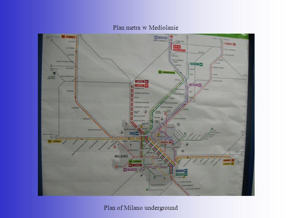 Plan metra w Mediolanie Plan of Milano underground