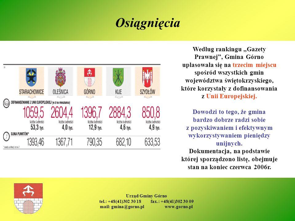 Urząd Gminy Górno tel.: +48(41)302 30 18 fax.: +48(41)302 30 09 mail: gmina@gorno.pl www.gorno.pl Osiągnięcia Według rankingu Gazety Prawnej, Gmina Gó