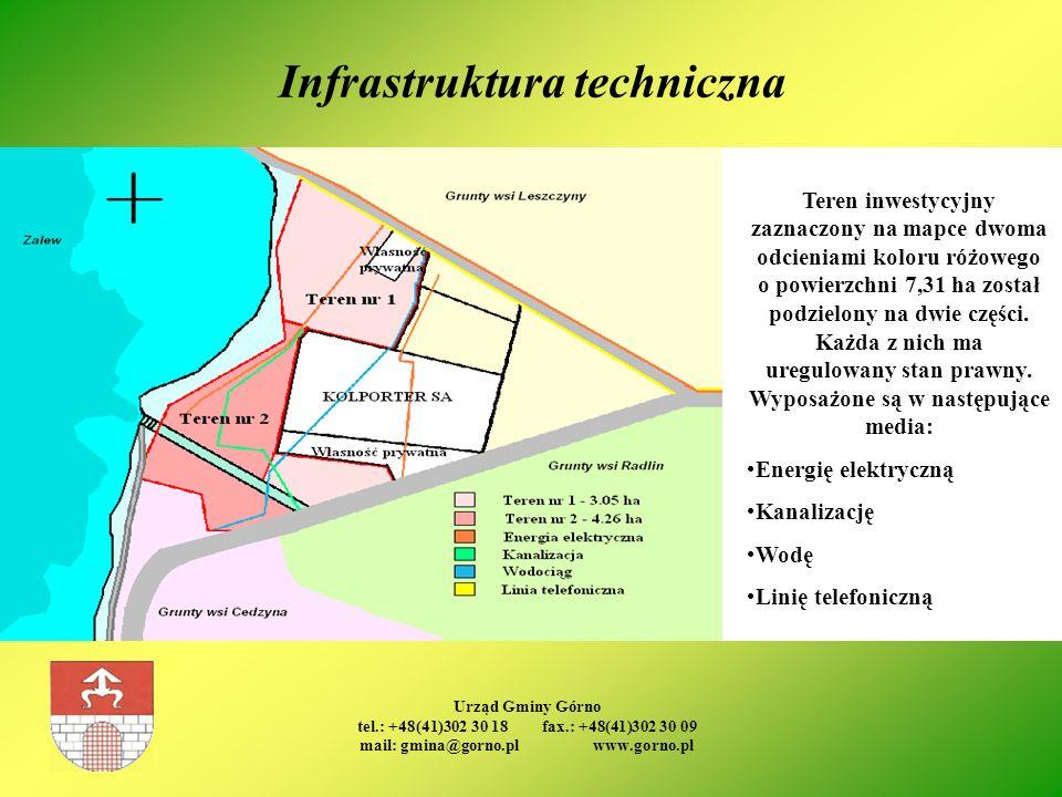 Urząd Gminy Górno tel.: +48(41)302 30 18 fax.: +48(41)302 30 09 mail: gmina@gorno.pl www.gorno.pl Infrastruktura techniczna Teren inwestycyjny zaznacz