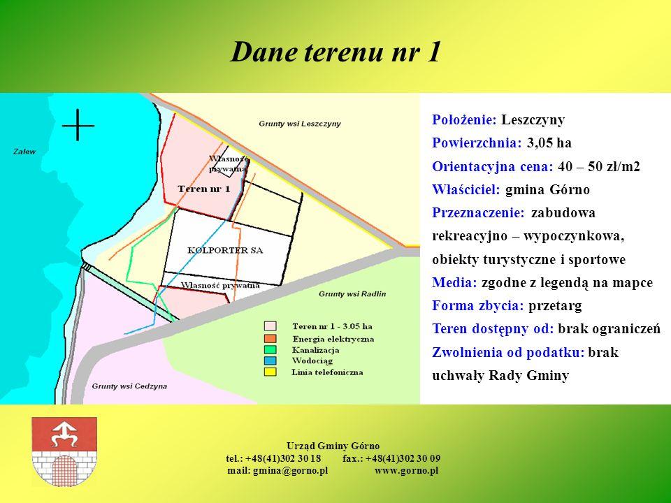 Urząd Gminy Górno tel.: +48(41)302 30 18 fax.: +48(41)302 30 09 mail: gmina@gorno.pl www.gorno.pl Dane terenu nr 1 Położenie: Leszczyny Powierzchnia: