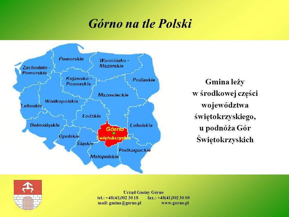 Urząd Gminy Górno tel.: +48(41)302 30 18 fax.: +48(41)302 30 09 mail: gmina@gorno.pl www.gorno.pl Górno na tle Polski Gmina leży w środkowej części wo