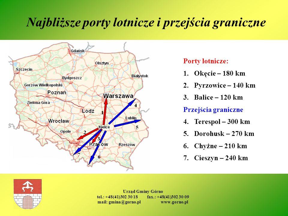 Urząd Gminy Górno tel.: +48(41)302 30 18 fax.: +48(41)302 30 09 mail: gmina@gorno.pl www.gorno.pl Najbliższe porty lotnicze i przejścia graniczne Port