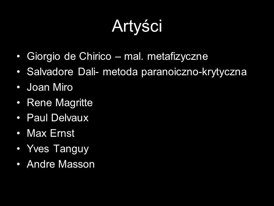 Artyści Giorgio de Chirico – mal. metafizyczne Salvadore Dali- metoda paranoiczno-krytyczna Joan Miro Rene Magritte Paul Delvaux Max Ernst Yves Tanguy
