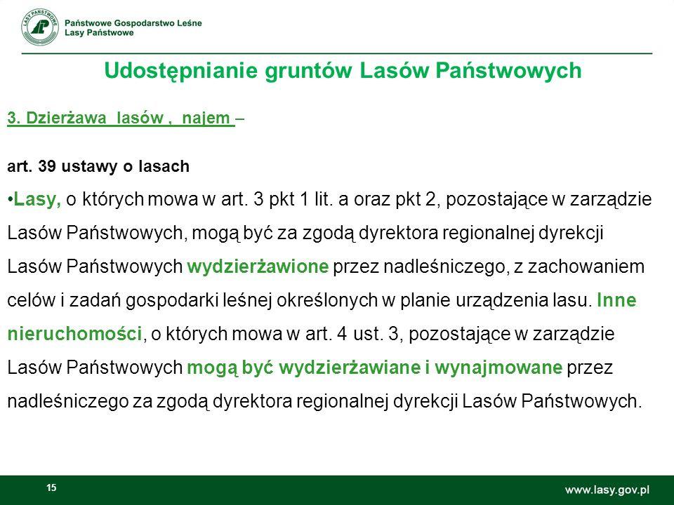 15 Udostępnianie gruntów Lasów Państwowych 3. Dzierżawa lasów, najem – art. 39 ustawy o lasach Lasy, o których mowa w art. 3 pkt 1 lit. a oraz pkt 2,