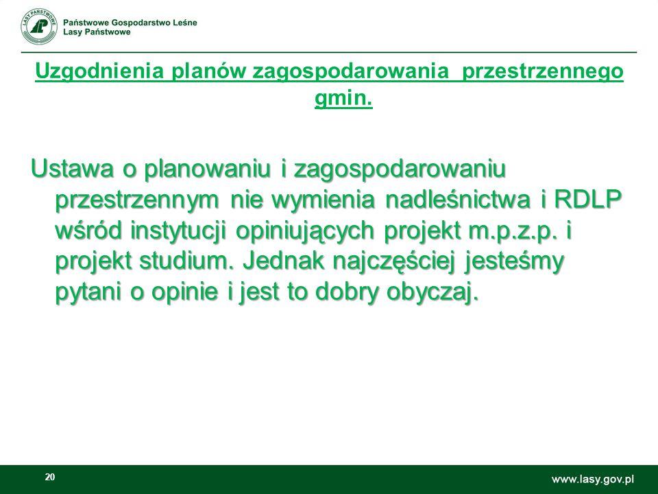 20 Uzgodnienia planów zagospodarowania przestrzennego gmin. Ustawa o planowaniu i zagospodarowaniu przestrzennym nie wymienia nadleśnictwa i RDLP wśró