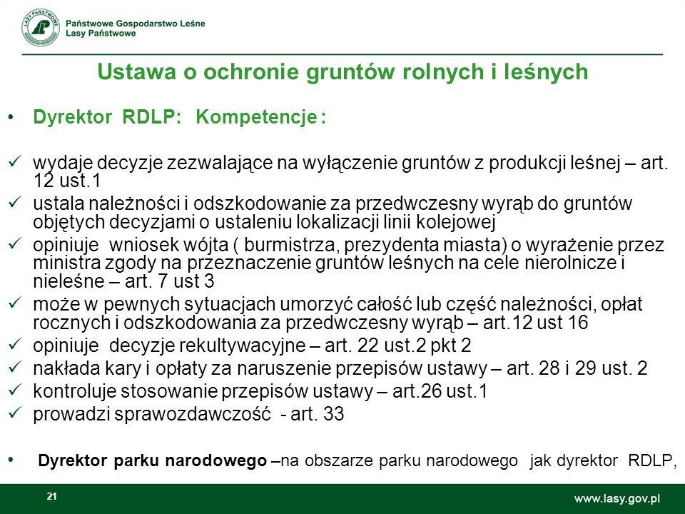 21 Ustawa o ochronie gruntów rolnych i leśnych Dyrektor RDLP: Kompetencje : wydaje decyzje zezwalające na wyłączenie gruntów z produkcji leśnej – art.
