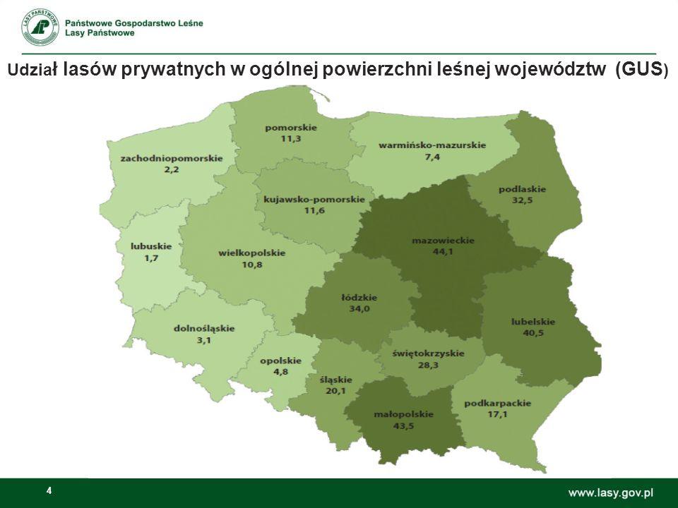 5 Powierzchnia leśna województwa 659,9 tys. ha – 36%