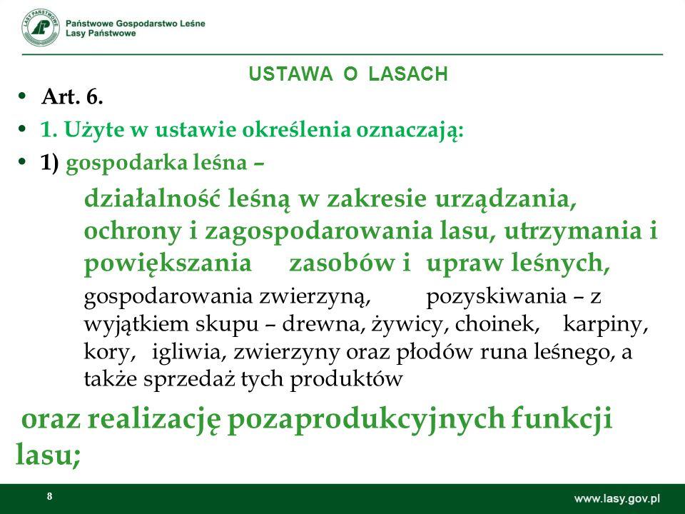 8 USTAWA O LASACH Art. 6. 1. Użyte w ustawie określenia oznaczają: 1) gospodarka leśna – działalność leśną w zakresie urządzania, ochrony i zagospodar