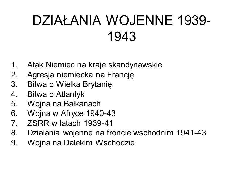 DZIAŁANIA WOJENNE 1939- 1943 1.Atak Niemiec na kraje skandynawskie 2.Agresja niemiecka na Francję 3.Bitwa o Wielka Brytanię 4.Bitwa o Atlantyk 5.Wojna