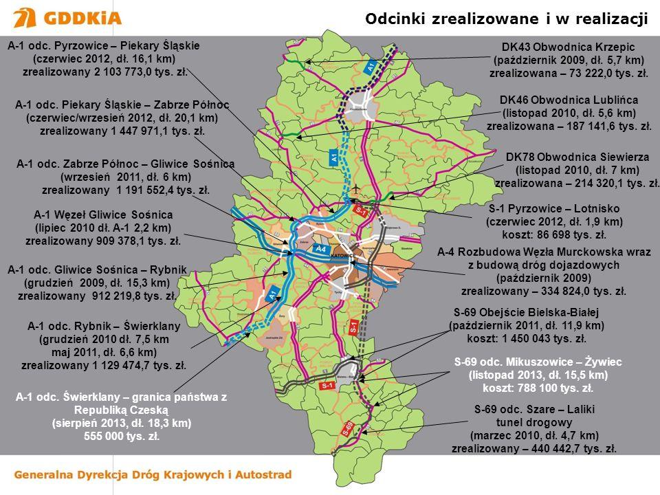 A-1 odc. Pyrzowice – Piekary Śląskie (czerwiec 2012, dł. 16,1 km) zrealizowany 2 103 773,0 tys. zł. A-1 odc. Piekary Śląskie – Zabrze Północ (czerwiec
