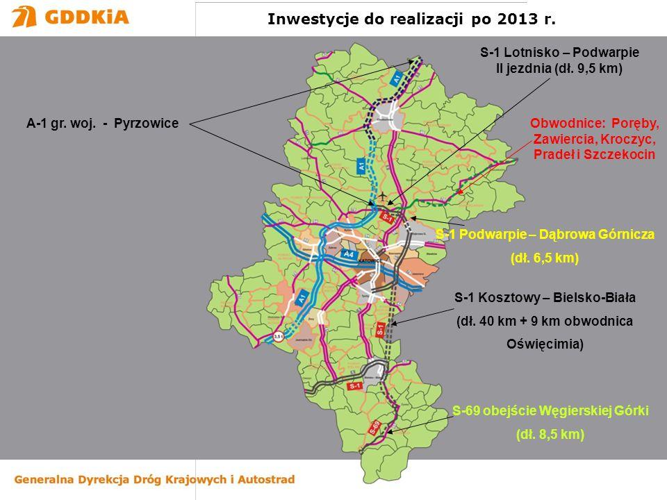 S-1 Lotnisko – Podwarpie II jezdnia (dł. 9,5 km) S-1 Kosztowy – Bielsko-Biała (dł. 40 km + 9 km obwodnica Oświęcimia) S-1 Podwarpie – Dąbrowa Górnicza