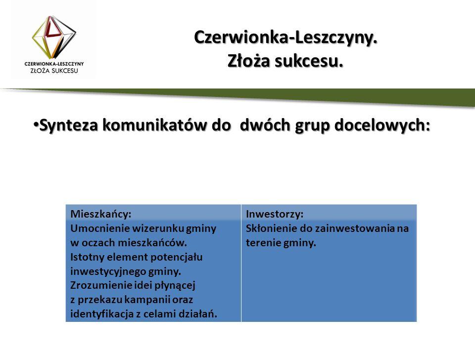 Synteza komunikatów do dwóch grup docelowych: Synteza komunikatów do dwóch grup docelowych: Czerwionka-Leszczyny. Złoża sukcesu.