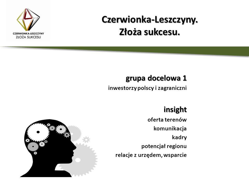 grupa docelowa 1 inwestorzy polscy i zagraniczniinsight oferta terenów komunikacja kadry potencjał regionu relacje z urzędem, wsparcie Czerwionka-Lesz