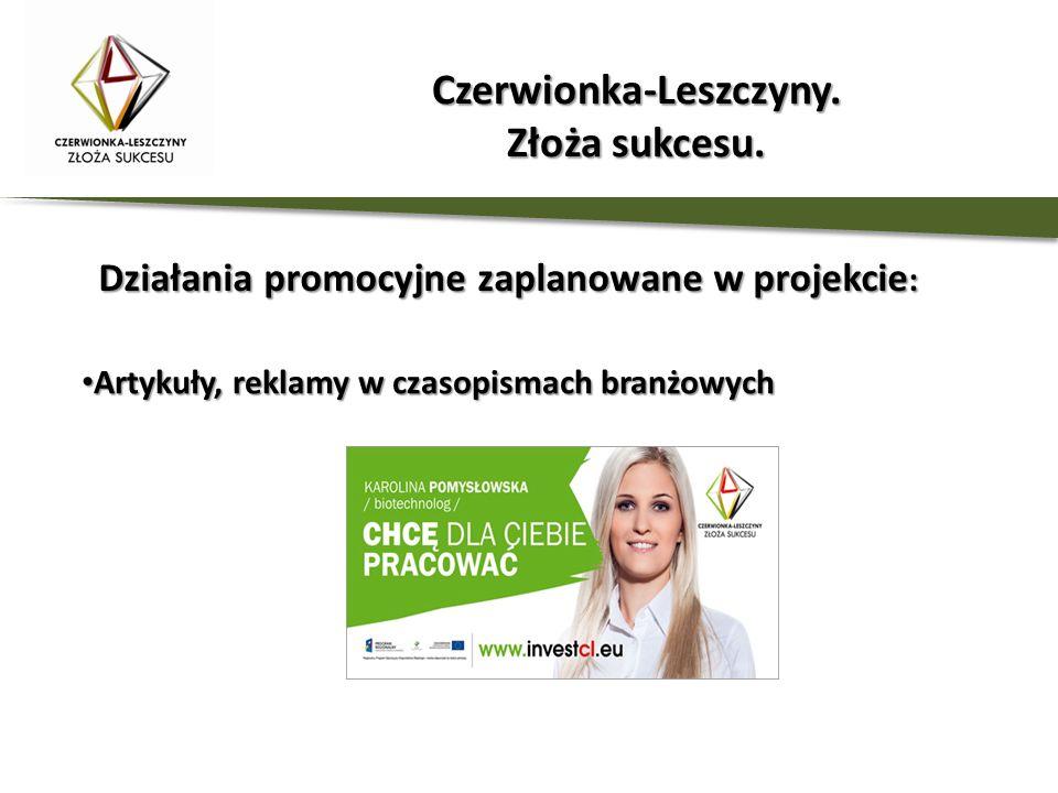 Działania promocyjne zaplanowane w projekcie : Artykuły, reklamy w czasopismach branżowych Artykuły, reklamy w czasopismach branżowych Czerwionka-Lesz