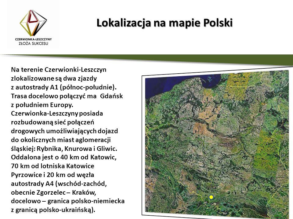 Lokalizacja na mapie Polski Lokalizacja na mapie Polski Na terenie Czerwionki-Leszczyn zlokalizowane są dwa zjazdy z autostrady A1 (północ-południe).