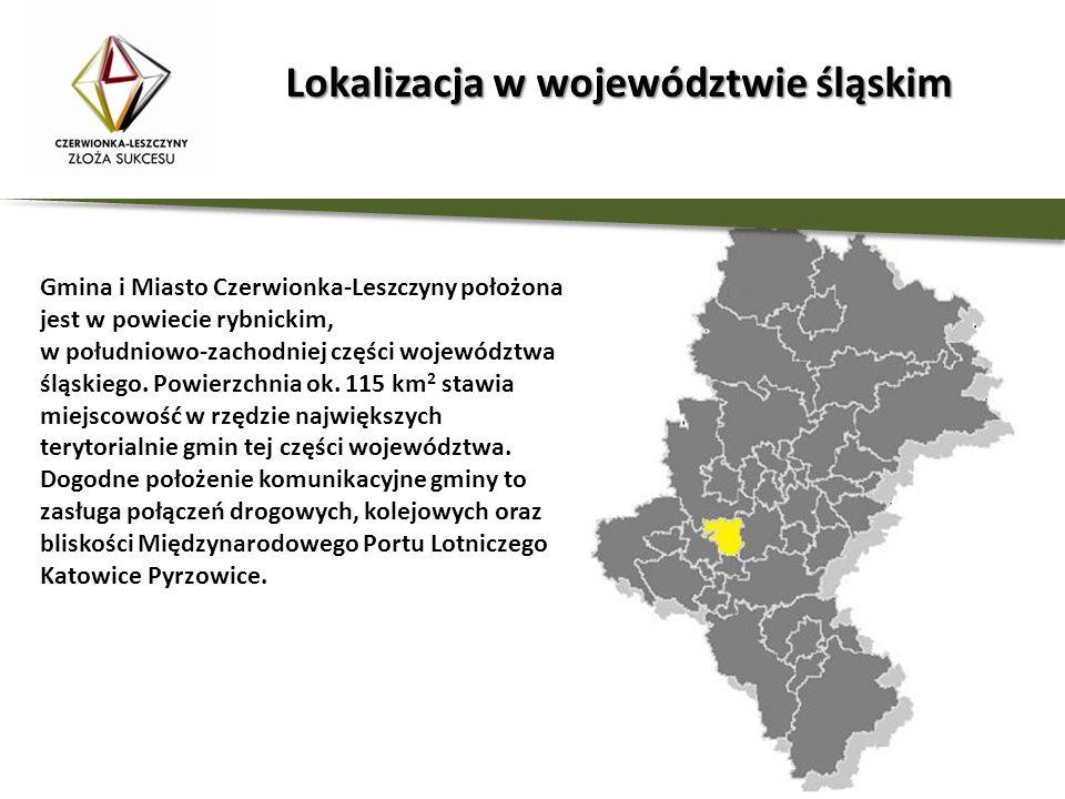 Lokalizacja w województwie śląskim Gmina i Miasto Czerwionka-Leszczyny położona jest w powiecie rybnickim, w południowo-zachodniej części województwa