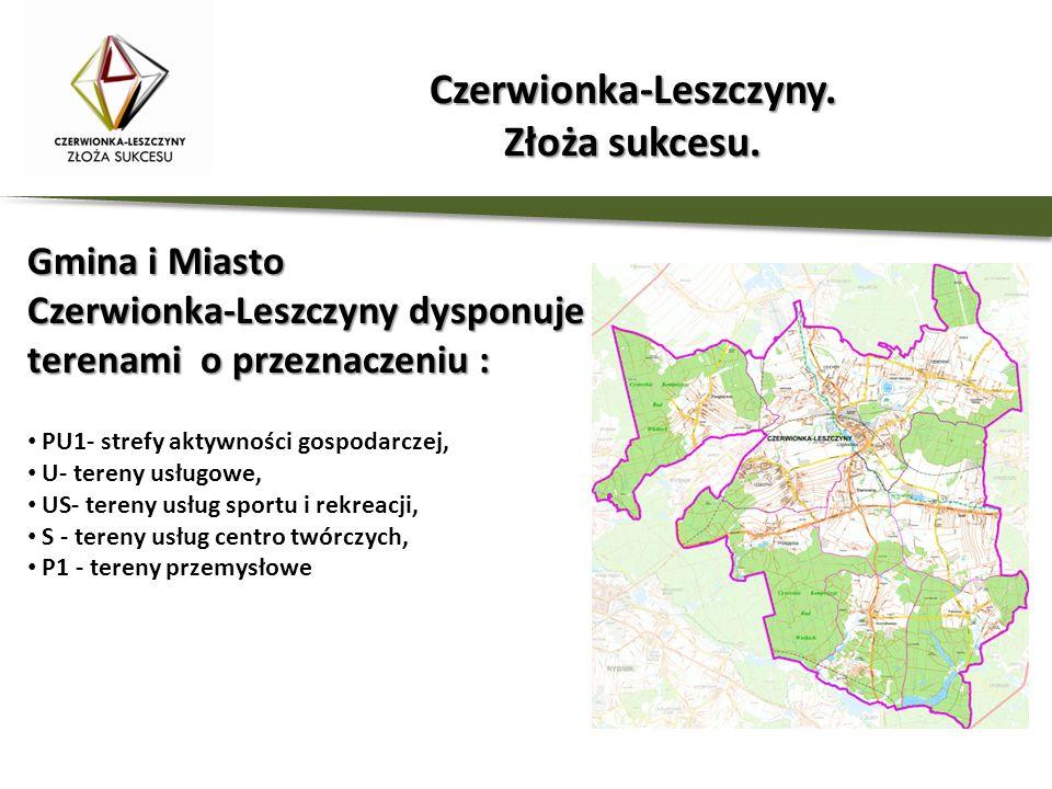 Gmina i Miasto Czerwionka-Leszczyny dysponuje terenami o przeznaczeniu : PU1- strefy aktywności gospodarczej, U- tereny usługowe, US- tereny usług spo